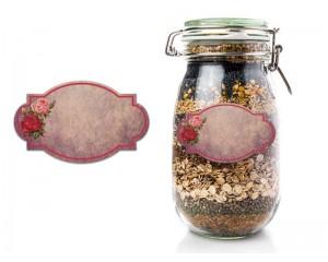 Винтидж етикети в розови нюанси 50 бр