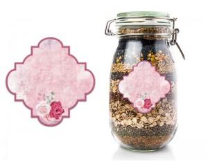 Розови самозалепващи етикети за буркани 50 бр