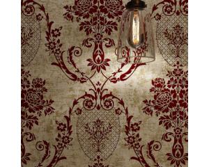 Винтидж тапет бронз и бургундско червени орнаменти