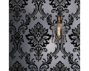 Винтидж тапет черен флок кадифе орнаментен