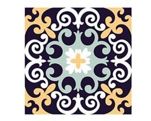 Самозалепващ стикер за плочки тъмносини орнаменти