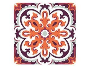 Самозалепващ стикер за плочки червени орнаменти