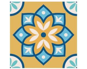 Самозалепващ стикер за плочки в синьо и жълто