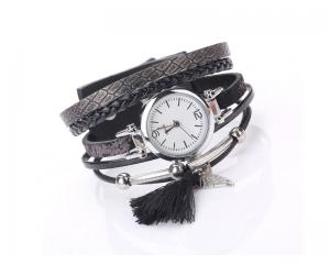 Дамски часовник кожена гривна в кафяво